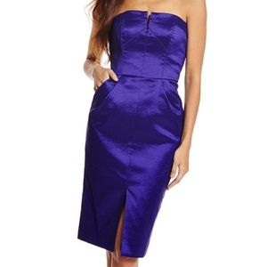 Royal Purple Strapless Tulip Cocktail Dress